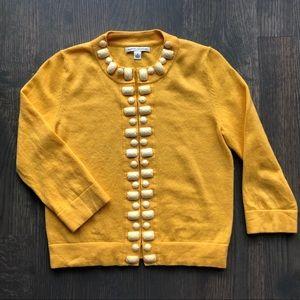 Embellished Yellow Wool Cardigan w/ Hook Enclosure